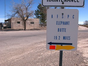 go north for Elephant Butte, south for Spaceport. This was a guerilla sticker campaign.